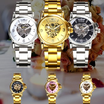 WINNER Watches Women Fashion Watch 2020 Automatic Mechanical Golden Heart Skeleton Dial Stainless Steel Band Elegant Lady Watch 6