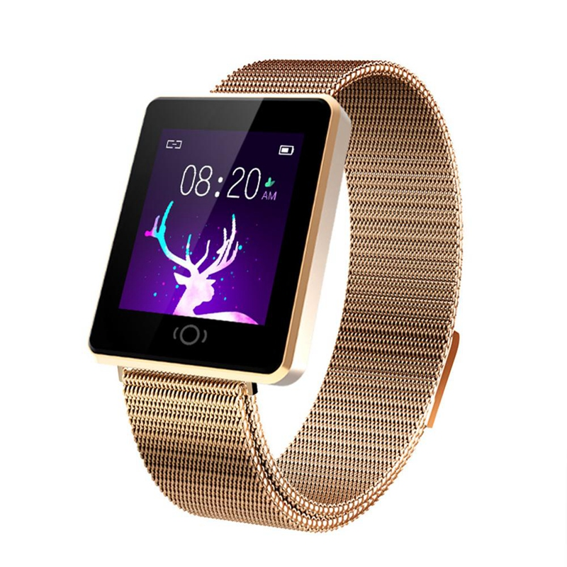 CK26 Fashion Smart Women Watch Sports Activity Physiological Record Rose Gold Elegant Watch Stainless Steel Strap