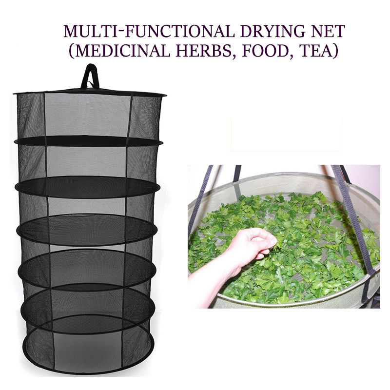 Multiple Layers Hanging Herb Drying Net Folding Dry Rack Opening Shape Dryer Bag Mesh 600Mm Diameter For Flowers Buds Plants