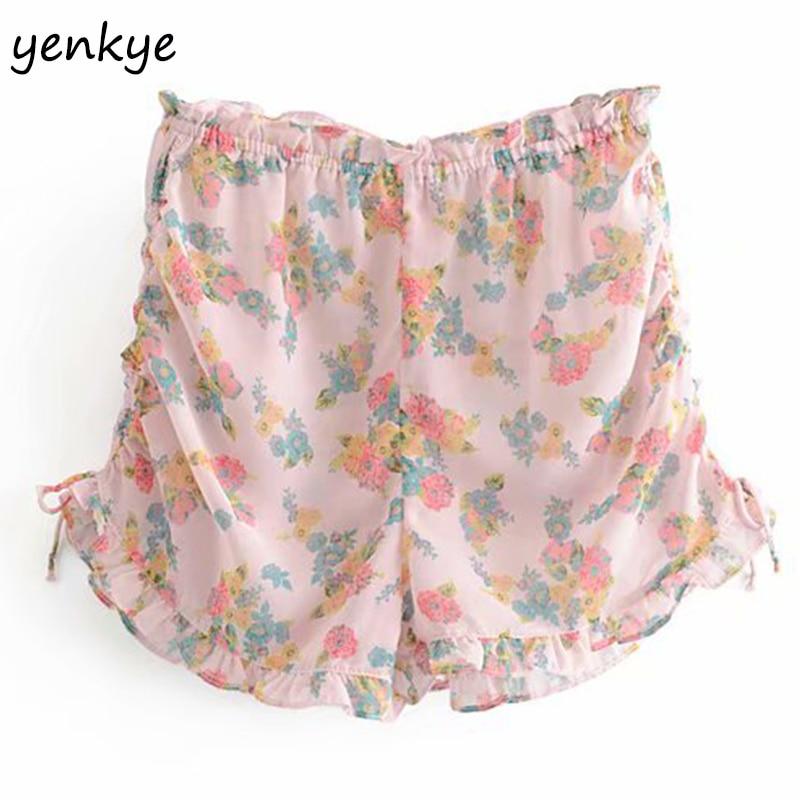 Chic Floral Print Ruffle Shorts Women Elastic High Waist Casual Summer Boho Short Mujer  LDZZ6031