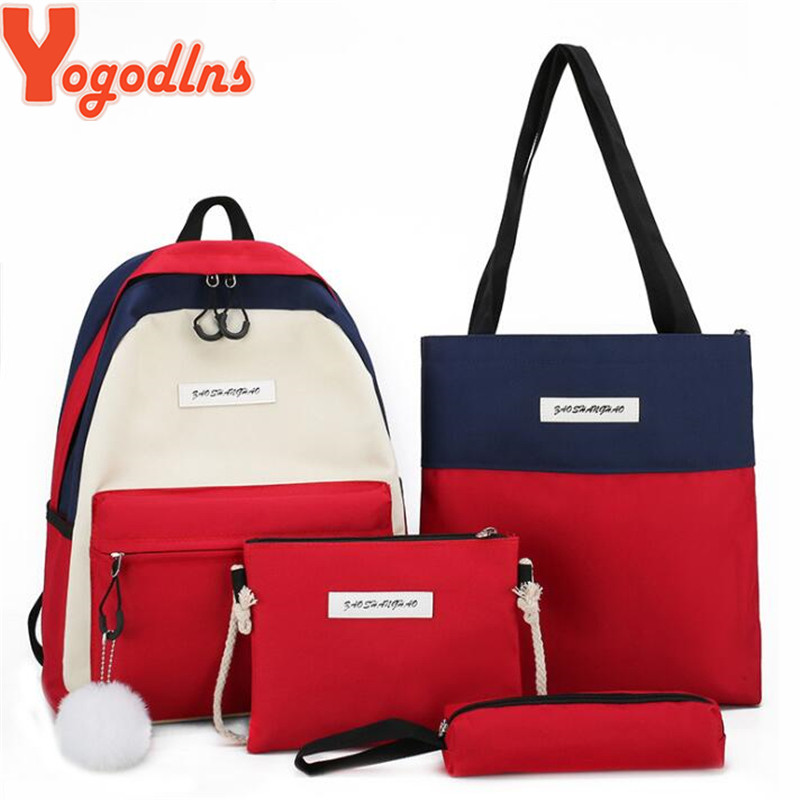 Yogodlns 4Pcs/set Women Canvas Backpacks For Teen Girls Boys School Student Book Bag Satchel Pen Purse Furball Bolsas Mochilas