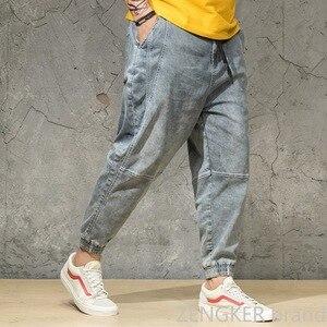 Image 3 - İlkbahar ve sonbahar açık renkli kot gelgit erkek büyük boy gevşek Harem pantolon japon trendleri ayak bileği uzunlukta pantolon paketi pantolon 46