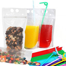 10pcs/set 730ml Clear Plastic Drinking Bag With Sucker Liquid Drinks Bag Pouch for Beverage Liquid Juice Milk Coffee(China)