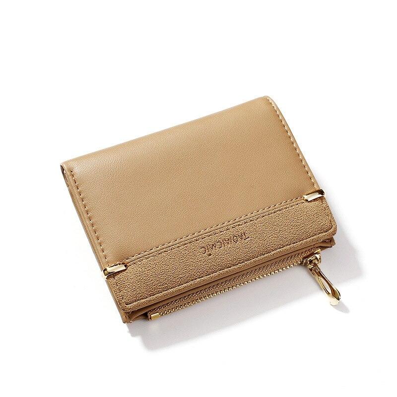 Женские кошельки, кожаный женский кошелек, мини-кошелек на застежке, Одноцветный держатель для нескольких карт, модные короткие кошельки для монет, тонкий маленький кошелек на застежке-молнии