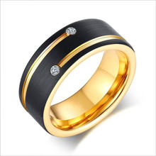 European and American trendy mens ring, grooved with two zircon tungsten steel rings, black gold ring