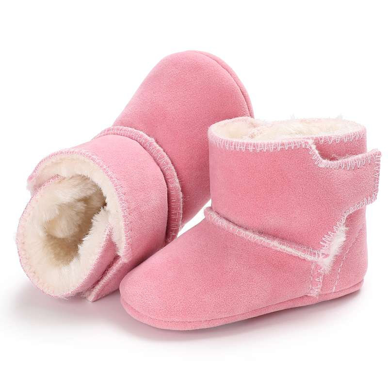 Baby Boots Winter Toddler Baby Boy Girl Warm Snow Boots Infant Soft Sole Crib Cotton Fuzzy Soft Solid Shoes 0-18M