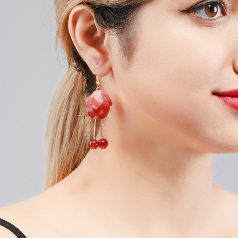 Wuli&baby  Red Rose Flower Drop Earrings Women New Korean Style