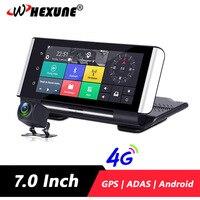 WHEXUNE 4G ADAS Car DVR Dash cam Full HD 1080P Camera Drive Video Auto Recorder Registrator 7'' Android 5.1 GPS Rear View Camera