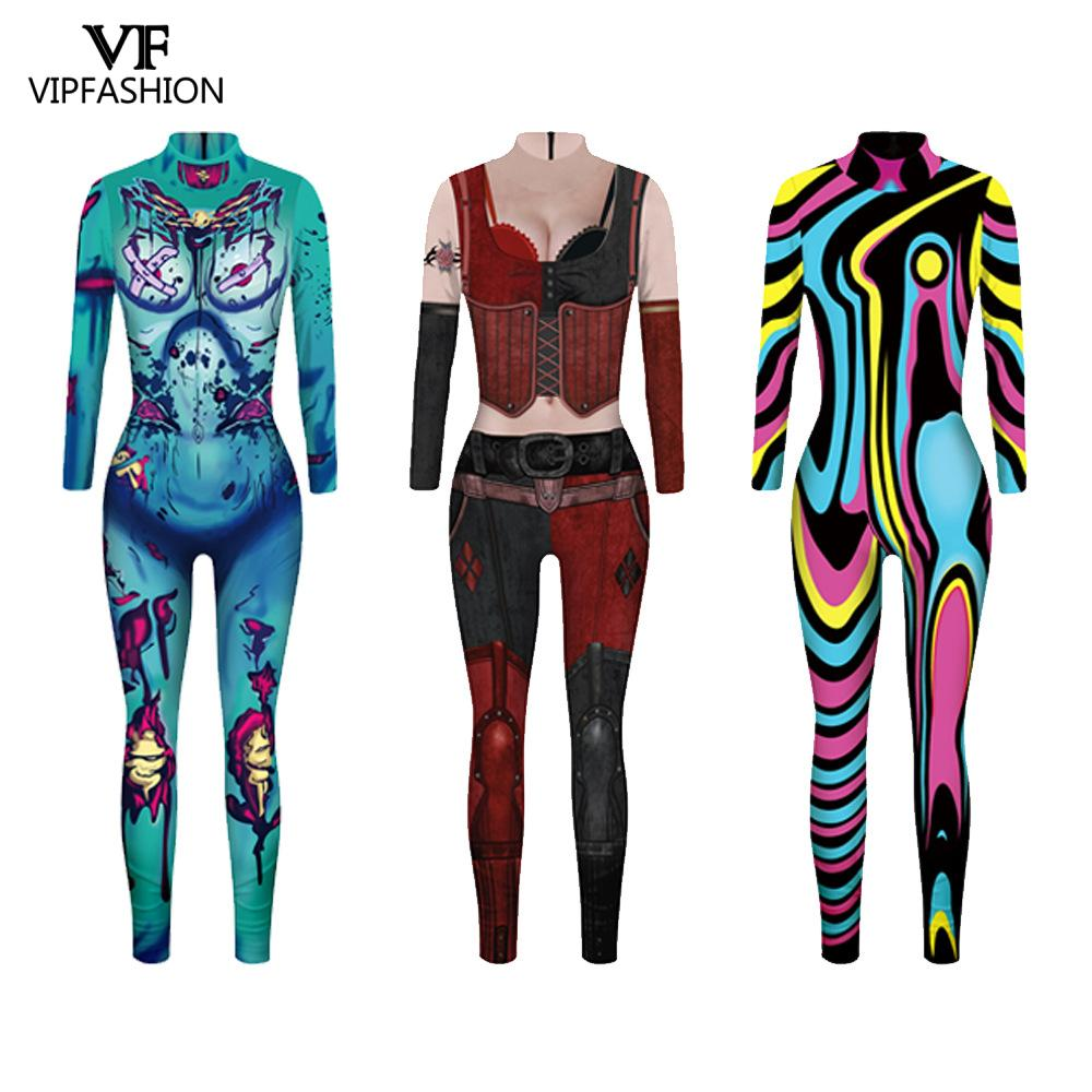 VIP FASHION New Movie Suicide Squad Harley Quinn Cosplay Printed Lycra Zentai Joker Fancy Jumpsuit Halloween Costumes For Women