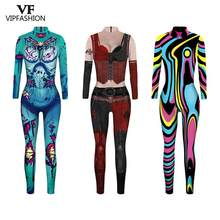 VIP FASHION New Movie Suicide Squad Harley Quinn Cosplay Printed Lycra Zentai Joker Fancy Jumpsuit Halloween Costumes For Women(China)