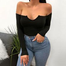 Fashion Women Casual Tank Crop Tops Vest Blouse Off Shoulder Long Sleeve Shirts