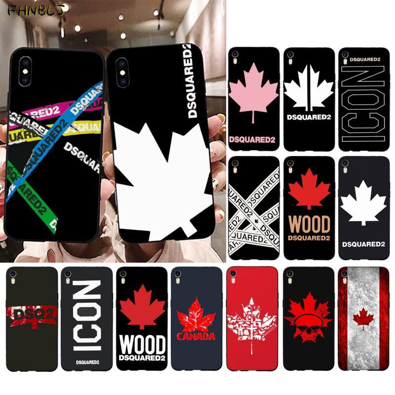 FHNBLJ Italy brand maple leaf dsquared2 Black Soft Phone Case Cover for iPhone 11 pro XS MAX 8 7 6 6S Plus X 5 5S SE 2020 XR