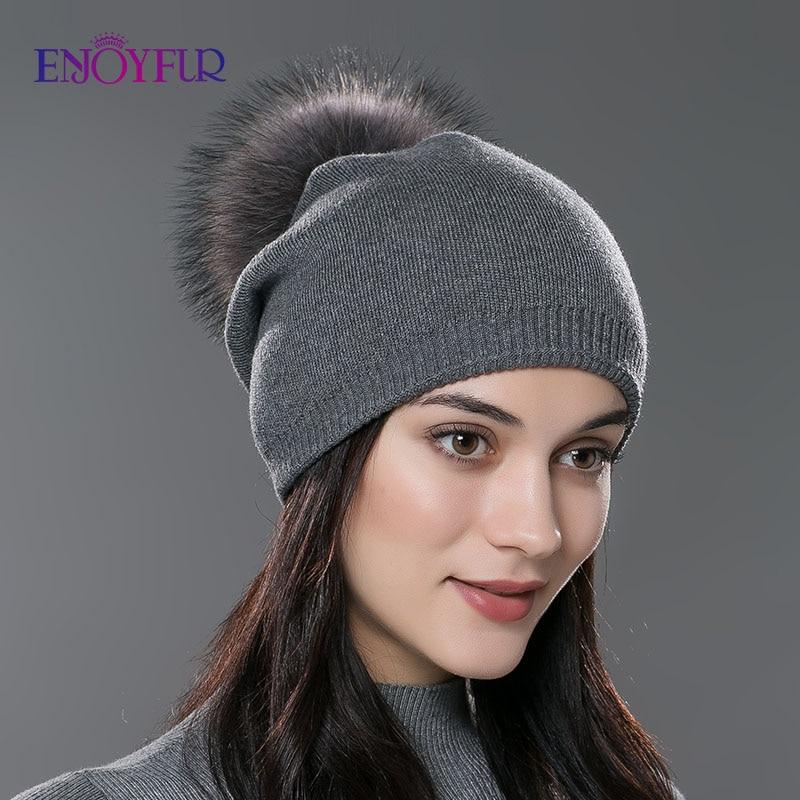 Women Girl Winter Pom Pom Beanie w//Real Raccoon Fur Wool  Cuff Hat Brown
