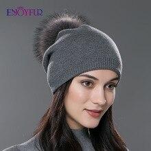 ENJOYFUR חורף נשים אמיתי פרווה פום פום כובעי צמר סרוג עבה חם מרופד בימס כובע גברת אופנה ובל סקי caps