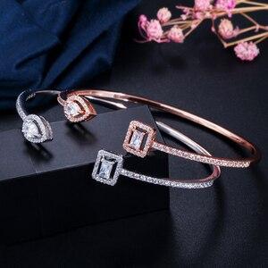 Image 3 - Erluer manguito pulseiras ajustáveis para mulheres jóias por atacado moda zircão charme cristal senhoras mão pulseira presente amante menina