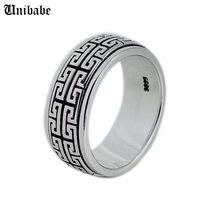 Real Silver ring 925 Sterling Silver ring men women S925 Ring Rotate Vintage Ring Jewelry gift Great Wall Movable S925 Ring Band