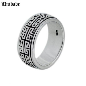 Image 1 - Real Silver ring 925 Sterling Silver ring men women S925 Ring Rotate Vintage Ring Jewelry gift Great Wall Movable S925 Ring Band