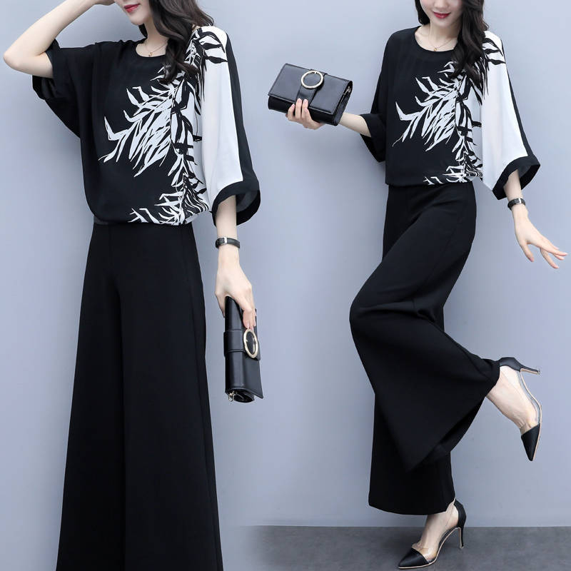 P46 Chiffon Top And Wide Leg Pants Womens Sets Two Piece 2019 Short Sleeve Print Top Loose Pants Suit Set