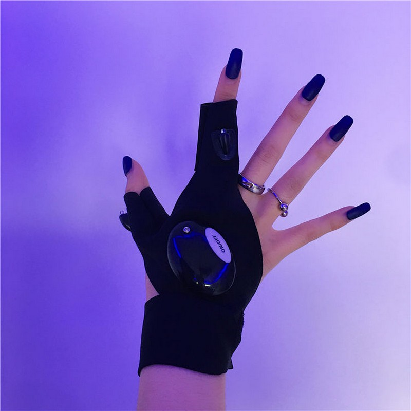 NiceMix LED Half Finger Light Gloves, Cool Function, Men And Women Can Bring Fabric Is Breathable Cotton