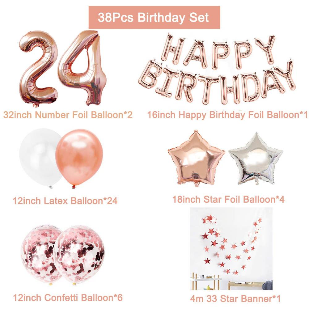 38pcs Number 24 Birthday Balloons 24th Happy Birthday 24 Years Old Party Decorations Man Woman 42th 42 Years Birthday Supplies Buy Cheap In An Online Store With Delivery Price Comparison Specifications