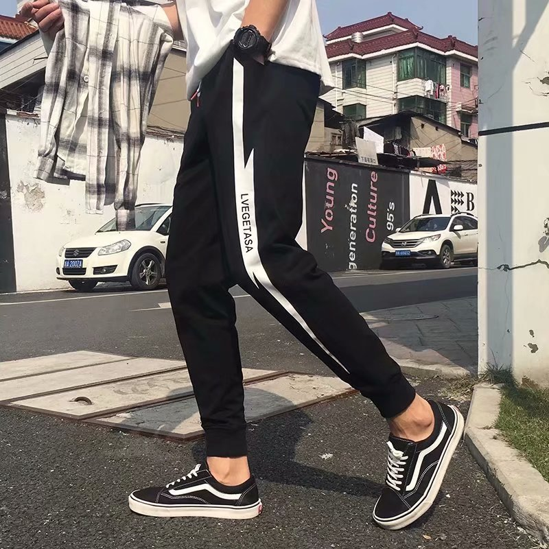 Summer Casual Pants Men's Korean-style Trend Men Capri Pants Men's Harem Pants Loose-Fit Skinny Athletic Pants Men's Beam Leg