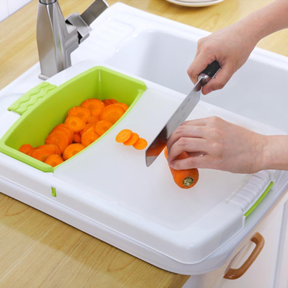 Multi-function Kitchen Cutting Board 3-in-1 Storage Basket Vegetable Fruit Drain Rack Detachable Basket Household 1