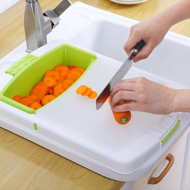Multi-function Kitchen Cutting Board 3-in-1 Storage Basket Vegetable Fruit Drain Rack Detachable Basket Household 1