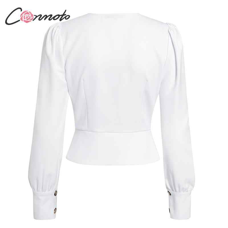 Conmoto zarif düz kadın bluz gömlek Vintage Retro Peplum beyaz V boyun kadın bluzlar puf gündelik Blusa Mujer