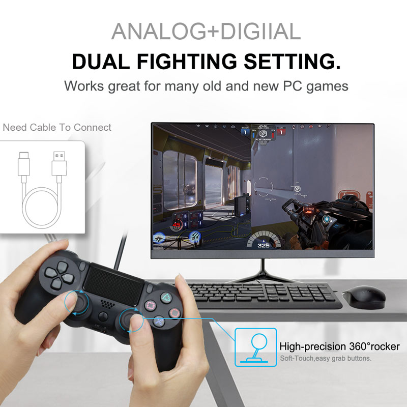 Bluetooth Gamepad and Wireless Game controller with Audio Function for PS4 and PS3 4