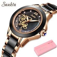 SUNKTA – montre-bracelet de luxe pour femmes, en céramique noire, diamant, étanche, à Quartz, cadeau