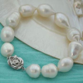 Charming Natural 12-14mm South Sea White Baroque Pearl Bracelet 7.5-8""