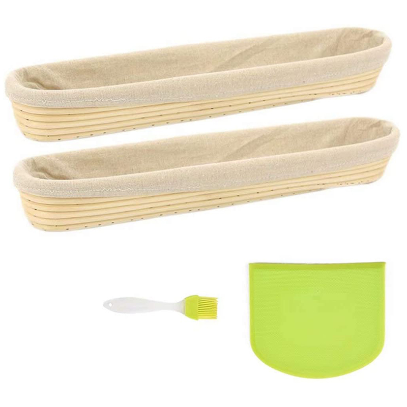 2 Pack Of Baguette Banneton Bread Proofing Basket And Linen Liner Set With Solicon Brush Dough Scraper 17 Inch
