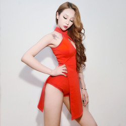 New nightclub bar dj collar dance costume costume jazz dance sexy open chest personality red split dress