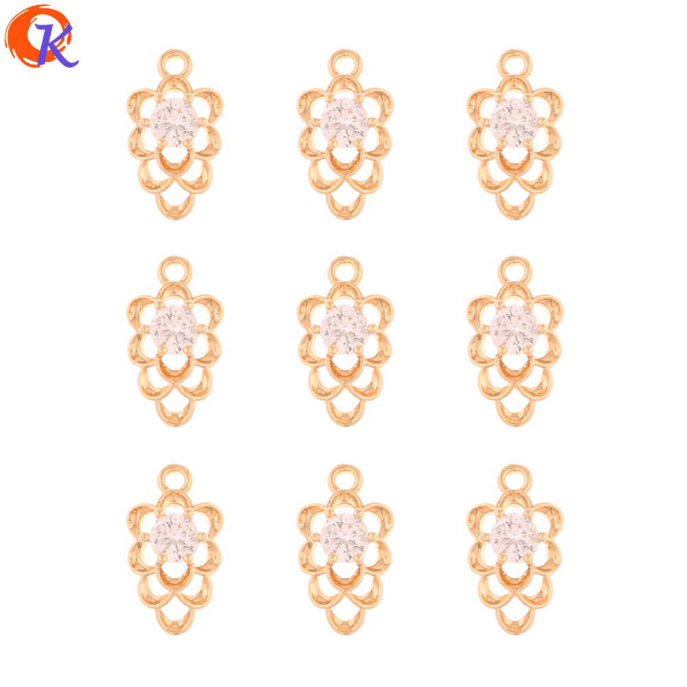 Cordial Design 100Pcs 8*14MM Jewelry Accessories/Earring Findings/CZ Charms/Drop Shape/Hand Made/Rhinestone Pendant/DIY Making