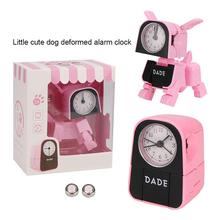 Kids Cartoon Dog Alarm Clock Cute Funny Deformation Robot Alarm Clock Students Desk Clock Shock-proof Toys Kids Christmas Gift tanie tanio GEOMETRIC 74mm Igła 250 0g Cyfrowy Other 55mm Nowoczesne Pojedyncze twarzy Robot Dog Alarm Clock
