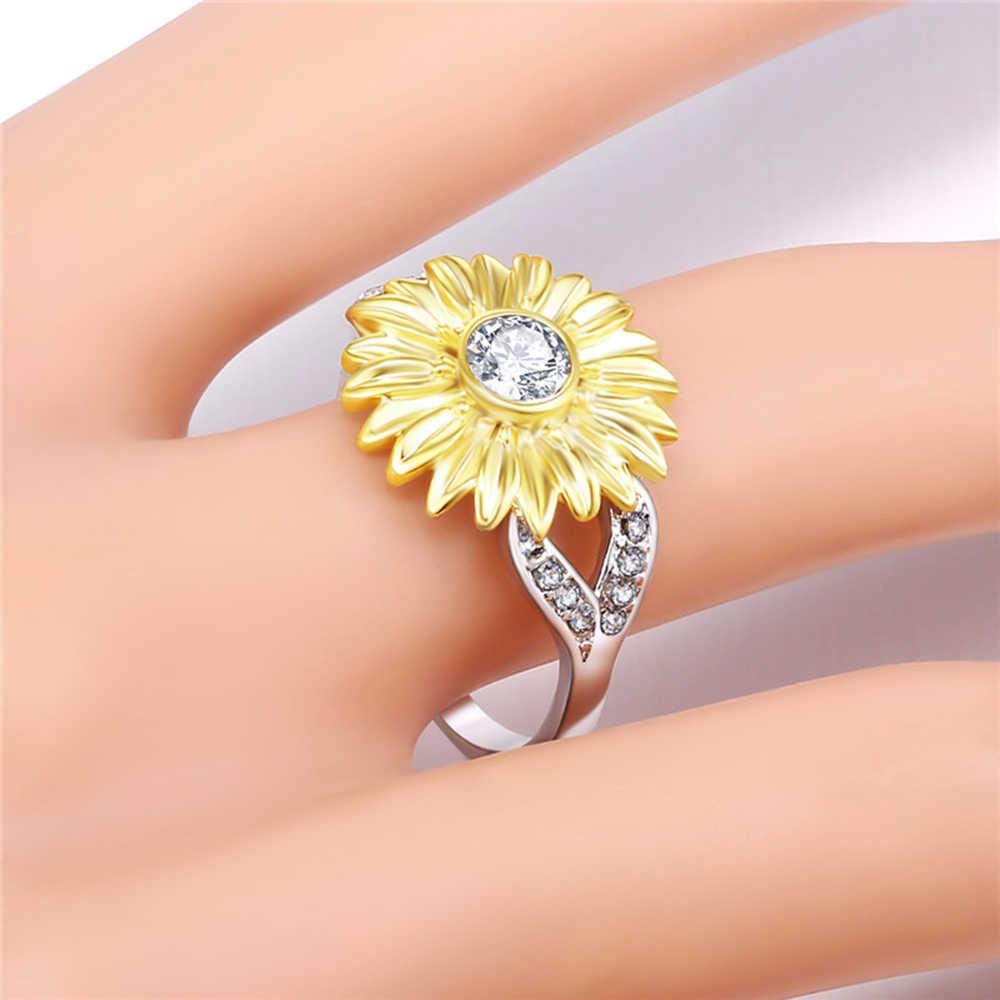 Acamifashion Women Fashion Sunflower Cubic Zircon Jewelry Gift Engagement Wedding Ring Band