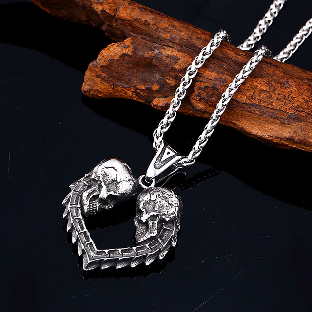 STAINLESS STEEL DOUBLE SKULL HEART NECKLACE