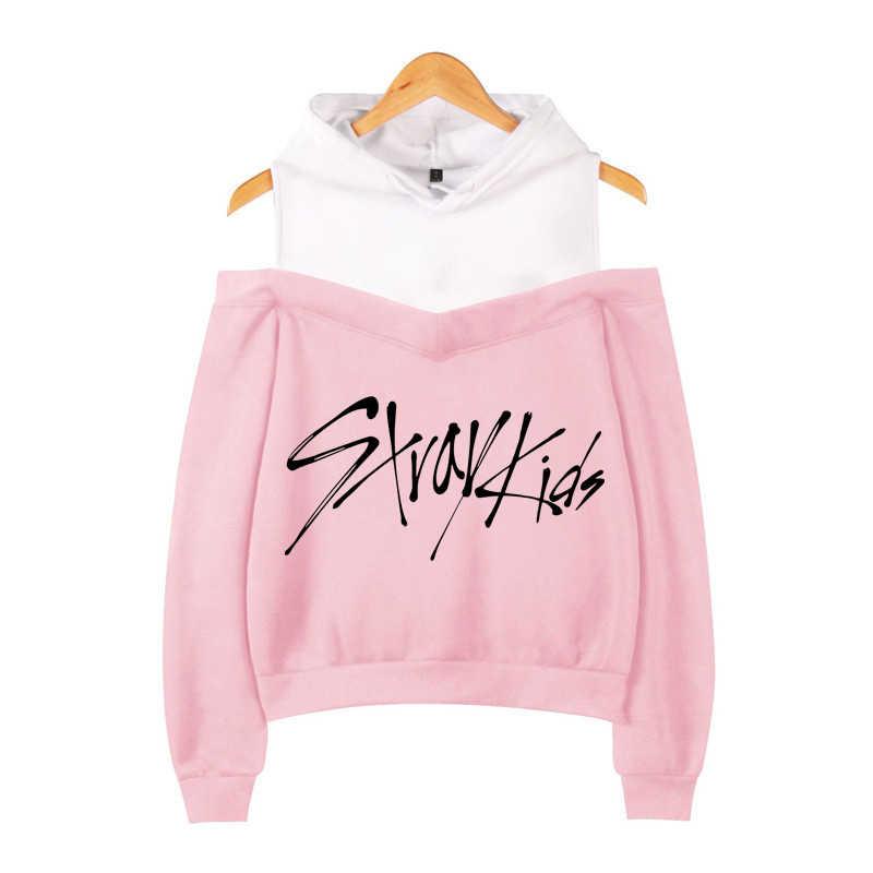 Kpop dezessete duas vezes k-pop monsta x got7 quer um hoodie com capuz outono inverno sem alças ombro stray crianças moletom feminino