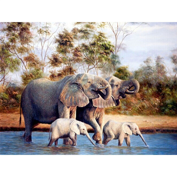 Full Square Drill 5D DIY Diamond Painting Cross Stitch Elephant family Diamond Embroidery animal mosaic Rhinestones picture M944 image
