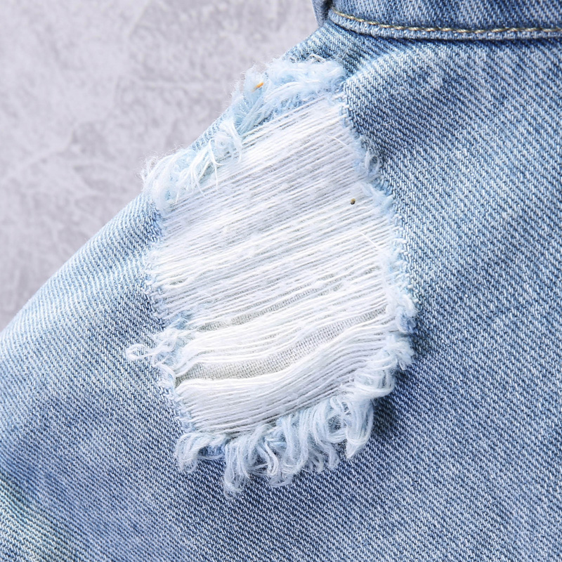 KSTUN Mens Jean Jacket Coats Light Blue Streetwear Loose Fit Ripped Denim Jacket for Man Teens Single-breasted Large Size 4XL 12