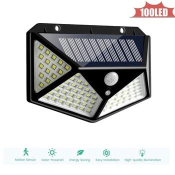 Outdoor Street Waterproof Wall Lights 100 LED Solar Power Street Light PIR Motion Sensor Light Garden Security Lamp 4 sided 270°