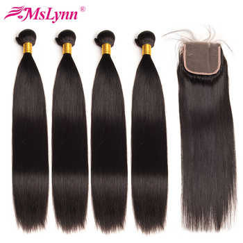 Brazilian Straight Hair Weave Bundles With Closure 4PCS Human Hair Bundles With Closure 4*4 Natural Color Mslynn Non Remy Hair - DISCOUNT ITEM  48% OFF All Category