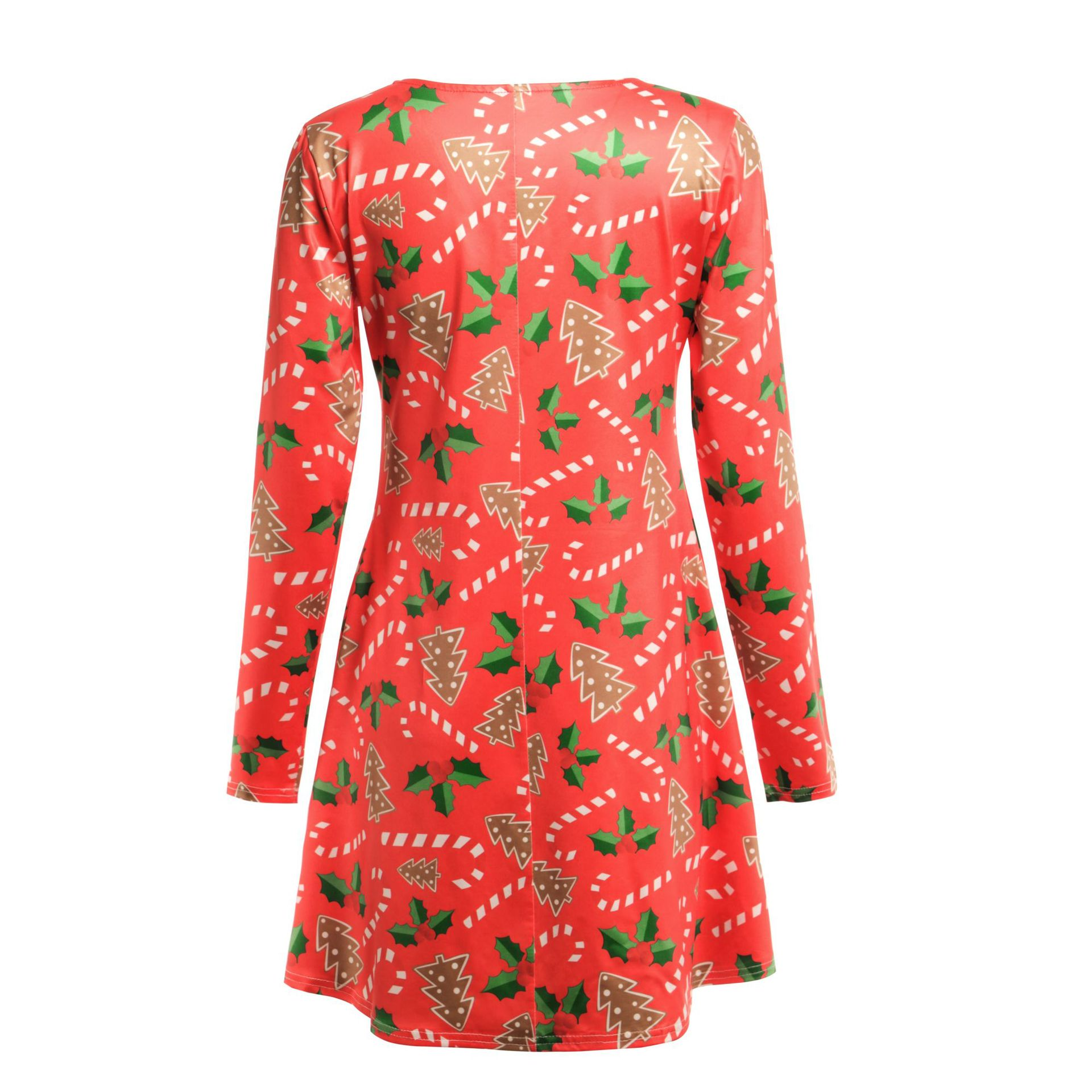 Print Long Sleeve Autumn Winter Christmas Dress Women 19 Casual Loose Short Party Dress Plus Size S-5XL Vestidos 12