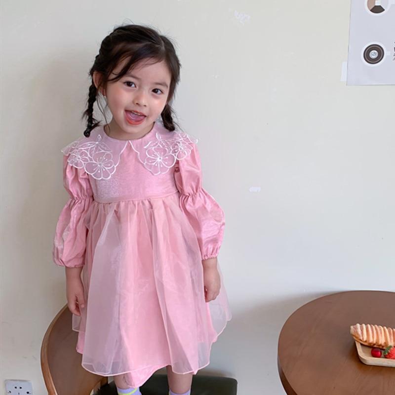 2020 осенняя одежда для маленьких девочек; Платье с сеткой в стиле «пэтчворк» в Корейском стиле Стиль из сетчатой ткани с длинными рукавами, с отворотом, с цветочным узором; Платье для принцессы с воротником, детское милое платье|Платья|   | АлиЭкспресс