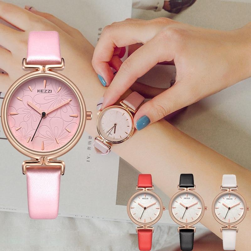 Kezzi Brand Women Pink Leather Watches Fashion Ladies Flower Dail Quartz Watch Waterproof Wristwatch Clock