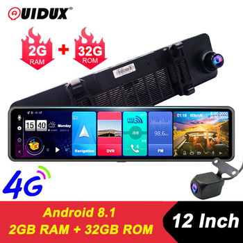 QUIDUX NEW 4G Android 8.1 Car DVR Camera GPS 12 Rearview mirror 2G RAM 32G ROM dash cam Video recorder ADAS Parking Monitoring image