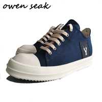 19ss Owen Seak Men Canvas Shoes Casual Lace Up Luxury Trainers Men Sneakers Adult Brand Flats Summer Low Shoes Big Size