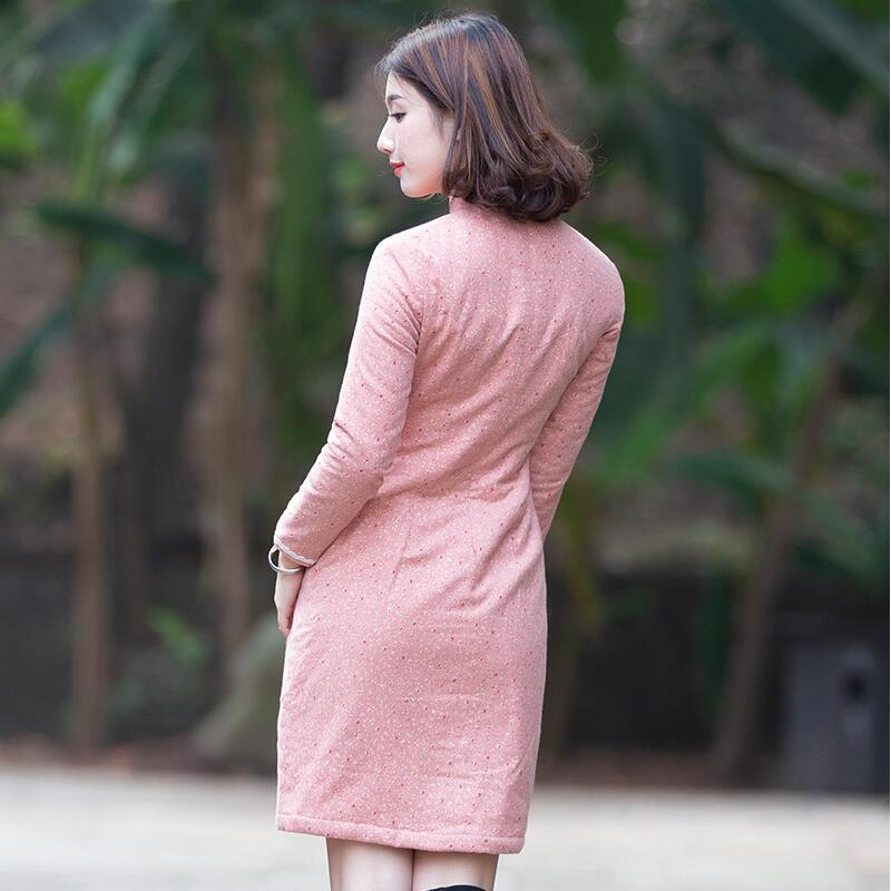Manual Sewing Women's Winter Cotton Cheongsam Cotton Thickened Warm Long Sleeve Young Girl's Chinese Traditional Casual Amazing