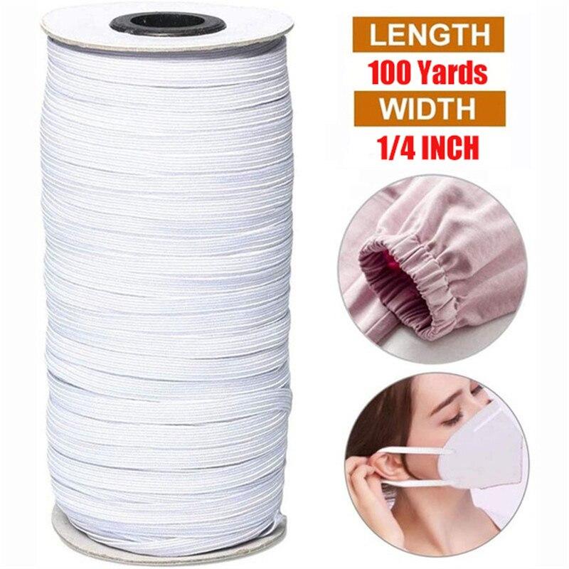 Roll Elastic Cord 100 Yards Length 6mm Width Braided Elastic Band Cord White Flat Band Stretch String Mask Sewing DIY Bulk Roll