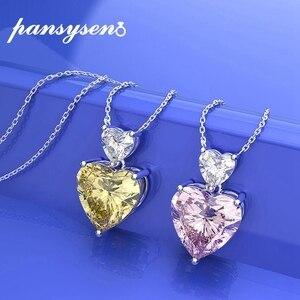PANSYSEN романтическая форма сердца созданная Moissanite цитрин бриллиантовое Серебрянное ожерелье 100% Настоящее серебро 925 ювелирные изделия подве...